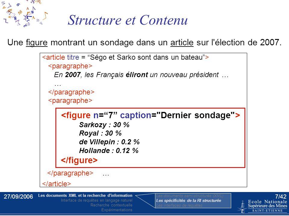 27/09/20066/42 Les spécificités de la RI semi-structurée L'unité d'information pertinente –document entier vs. élément XML (doxel) –exhaustivité et sp