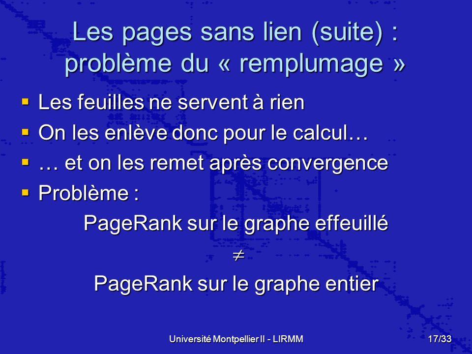 Université Montpellier II - LIRMM17/33 Les pages sans lien (suite) : problème du « remplumage » Les feuilles ne servent à rien Les feuilles ne servent à rien On les enlève donc pour le calcul… On les enlève donc pour le calcul… … et on les remet après convergence … et on les remet après convergence Problème : Problème : PageRank sur le graphe effeuillé PageRank sur le graphe entier
