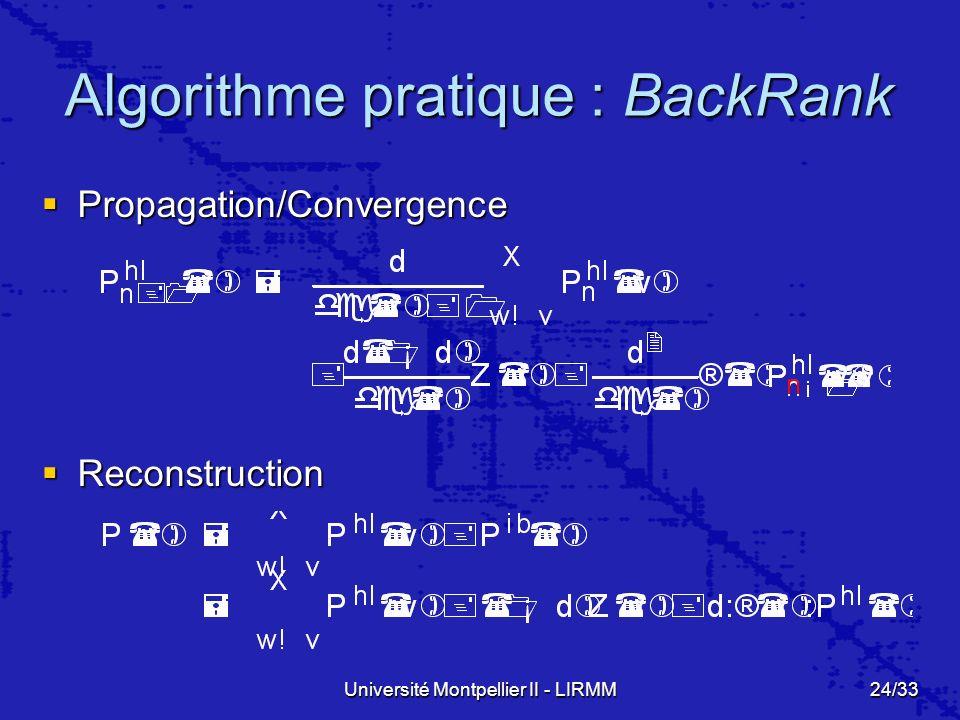 Université Montpellier II - LIRMM24/33 Algorithme pratique : BackRank Propagation/Convergence Propagation/Convergence Reconstruction Reconstruction