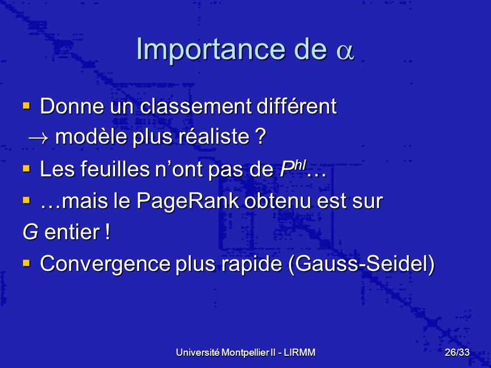 Université Montpellier II - LIRMM26/33 Importance de Importance de Donne un classement différent Donne un classement différent .