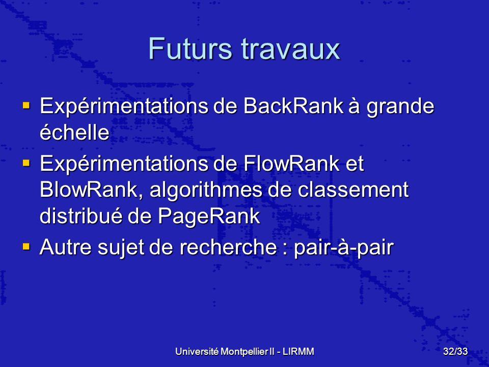 Université Montpellier II - LIRMM32/33 Futurs travaux Expérimentations de BackRank à grande échelle Expérimentations de BackRank à grande échelle Expérimentations de FlowRank et BlowRank, algorithmes de classement distribué de PageRank Expérimentations de FlowRank et BlowRank, algorithmes de classement distribué de PageRank Autre sujet de recherche : pair-à-pair Autre sujet de recherche : pair-à-pair