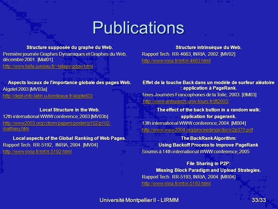 Université Montpellier II - LIRMM33/33 Publications Structure supposée du graphe du Web.