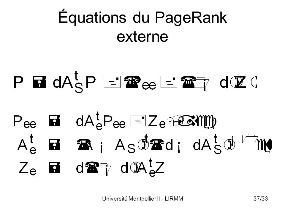 Université Montpellier II - LIRMM37/33 Équations du PageRank externe