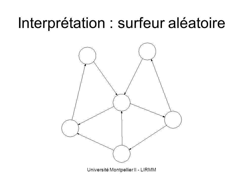 Université Montpellier II - LIRMM Interprétation : surfeur aléatoire