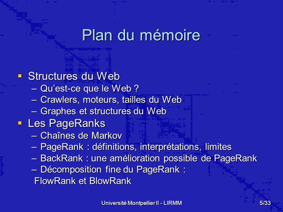Université Montpellier II - LIRMM5/33 Plan du mémoire Structures du Web Structures du Web –Quest-ce que le Web .
