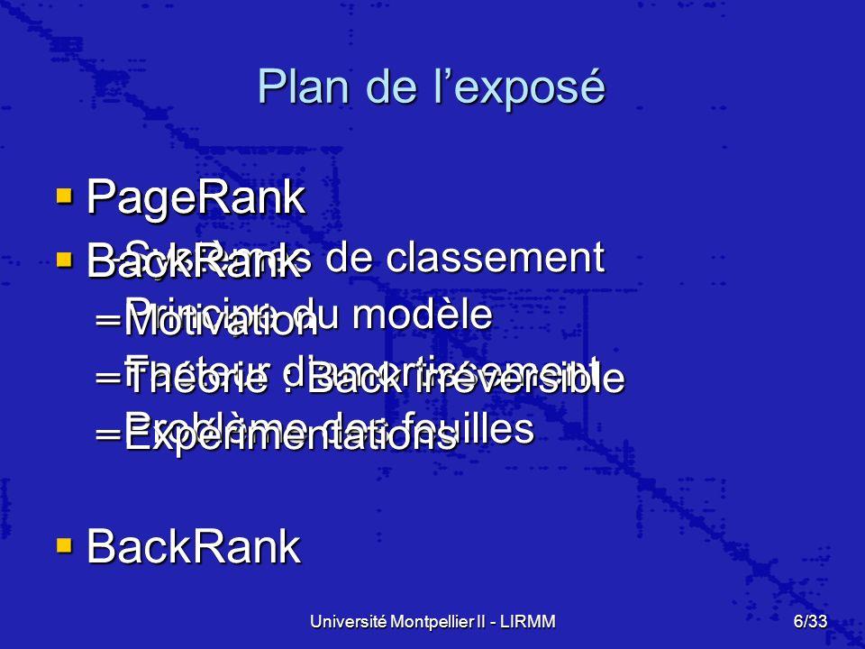 Université Montpellier II - LIRMM6/33 Plan de lexposé PageRank PageRank –Systèmes de classement –Principe du modèle –Facteur damortissement –Problème des feuilles BackRank BackRank PageRank PageRank BackRank BackRank –Motivation –Théorie : Back irréversible –Expérimentations PageRank PageRank BackRank BackRank