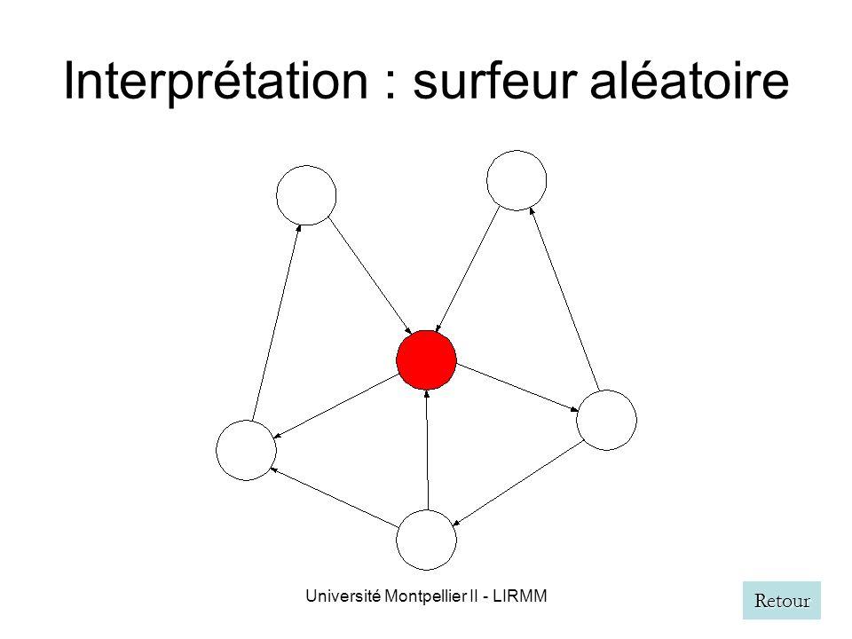Université Montpellier II - LIRMM Interprétation : surfeur aléatoire Retour