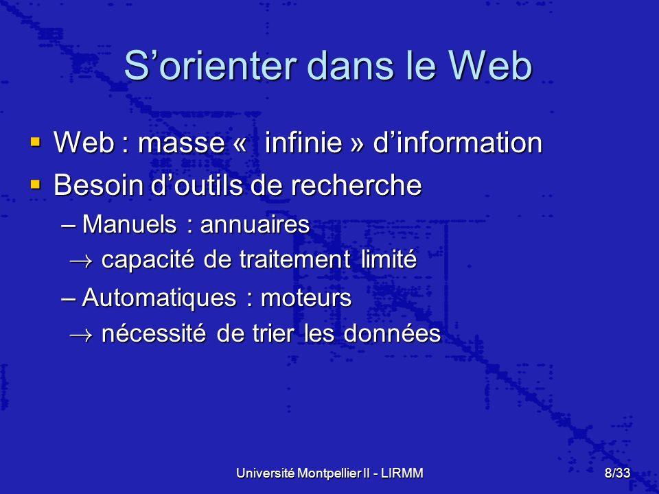 Université Montpellier II - LIRMM8/33 Sorienter dans le Web Web : masse « infinie » dinformation Web : masse « infinie » dinformation Besoin doutils de recherche Besoin doutils de recherche –Manuels : annuaires .
