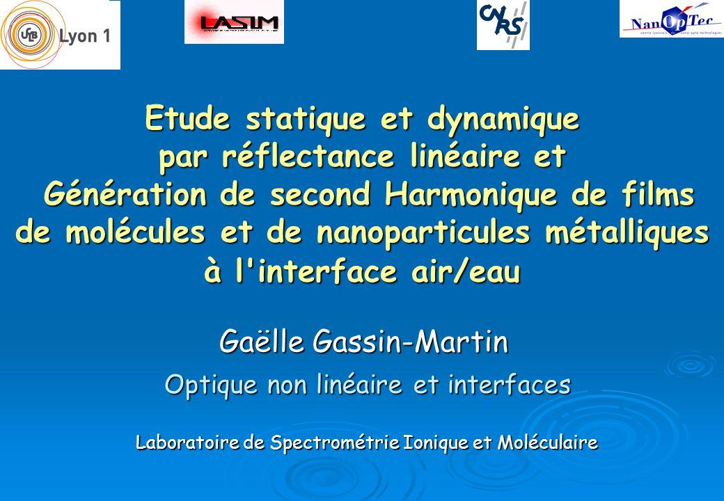 Etude statique et dynamique par réflectance linéaire et Génération de second Harmonique de films de molécules et de nanoparticules métalliques à l'int