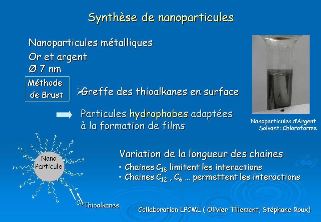 Thioalkanes C 12 Nanoparticules métalliques Or et argent Ø 7 nm Synthèse de nanoparticules Particules hydrophobes adaptées à la formation de films Nan