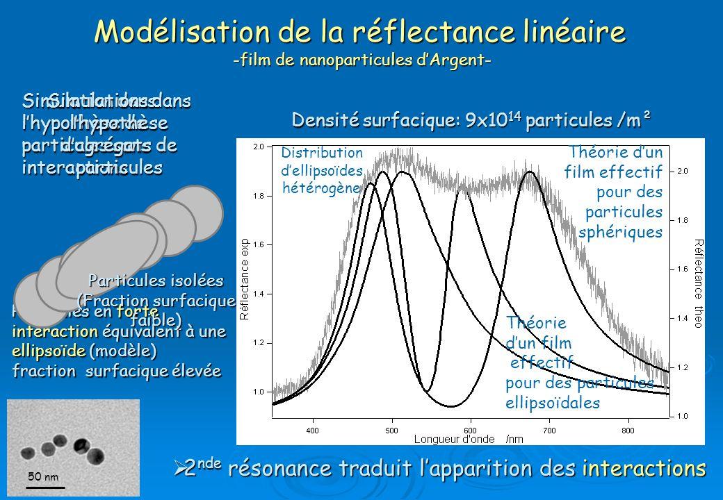 Particules en forte interaction équivalent à une ellipsoïde (modèle) fraction surfacique élevée Densité surfacique: 9x10 14 particules /m² Modélisatio