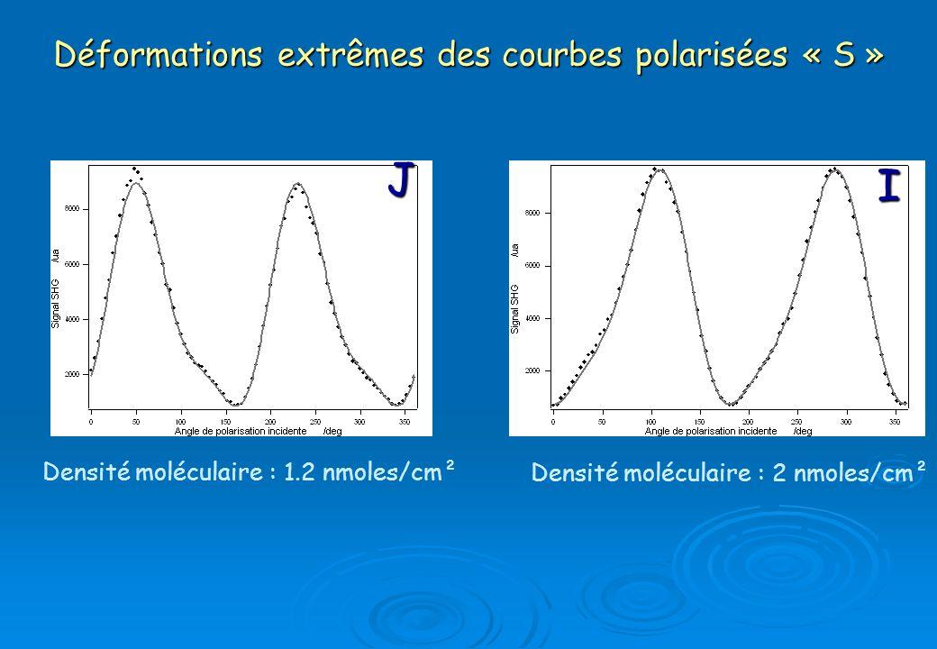 Déformations extrêmes des courbes polarisées « S » I J Densité moléculaire : 1.2 nmoles/cm² Densité moléculaire : 2 nmoles/cm²