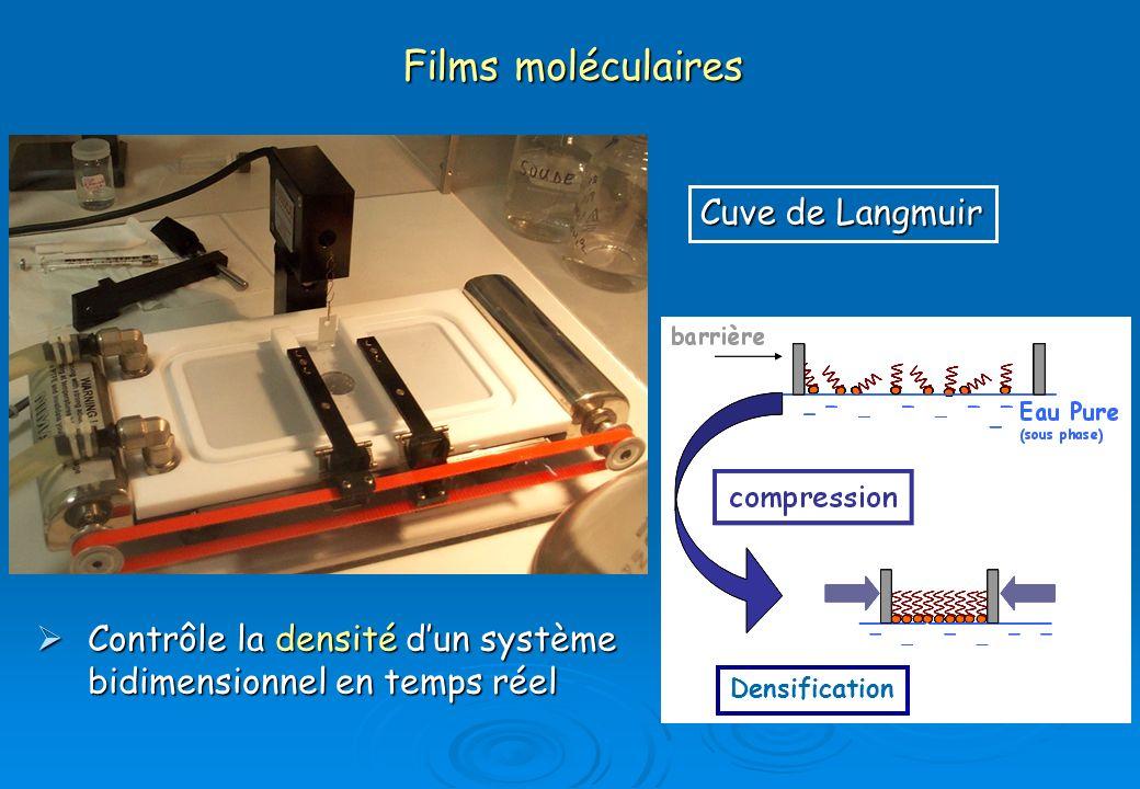 Isothermes de films Connaissance de certains états macroscopiques (S, P, T, pH…) du film à chaque étape de sa formation Connaissance de certains états macroscopiques (S, P, T, pH…) du film à chaque étape de sa formation Contrôle des interactions dans le système Contrôle des interactions dans le système compression Liquide condensé Liquide expansé Compression