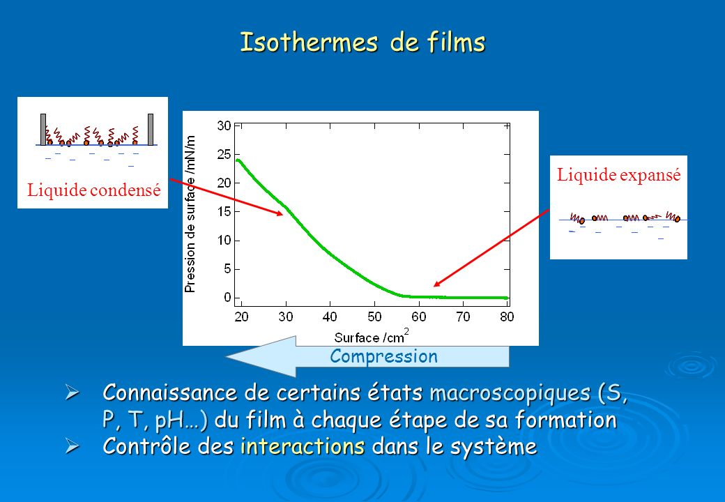 Isothermes de films Connaissance de certains états macroscopiques (S, P, T, pH…) du film à chaque étape de sa formation Connaissance de certains états