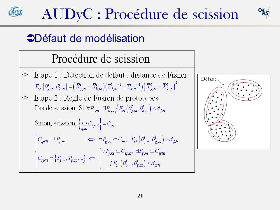 24 AUDyC : Procédure de scission Défaut de modélisation Défaut