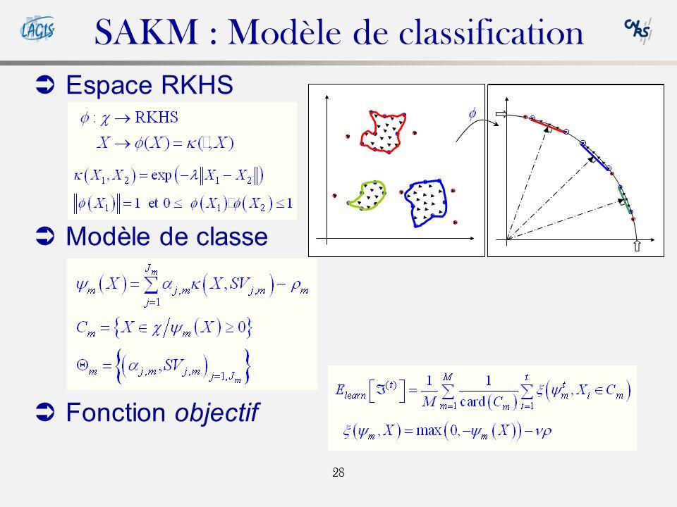 28 SAKM : Modèle de classification Espace RKHS Modèle de classe Fonction objectif Outlier MSV