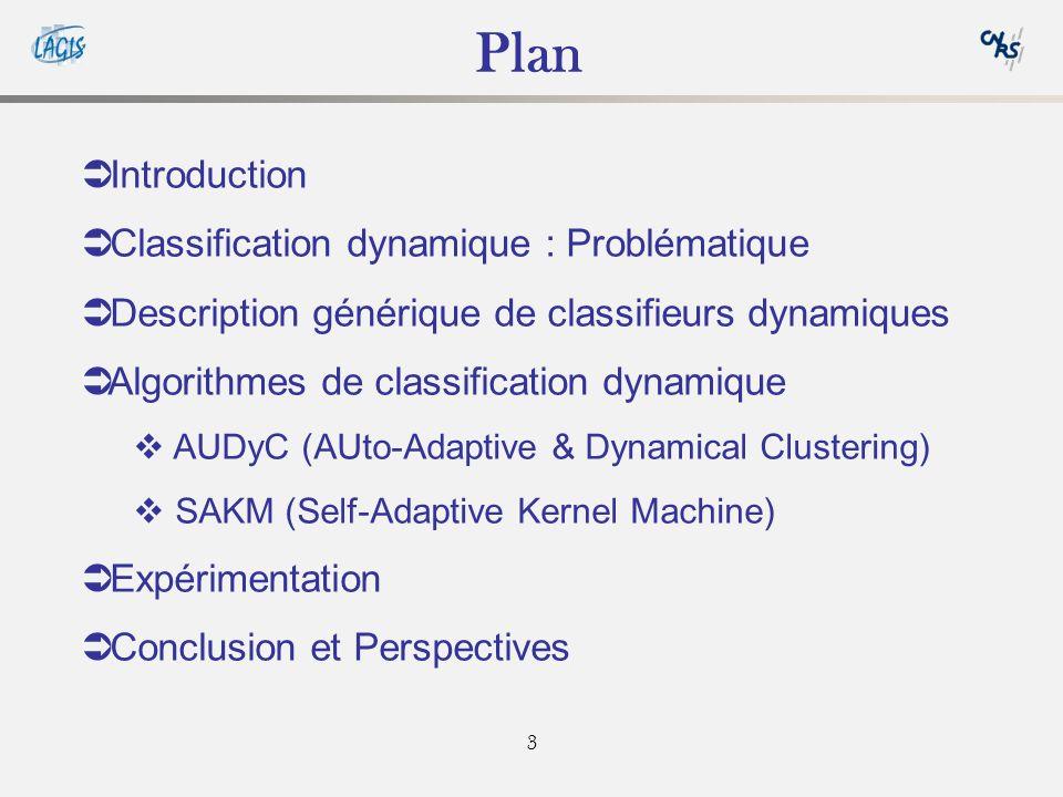 3 Plan Introduction Classification dynamique : Problématique Description générique de classifieurs dynamiques Algorithmes de classification dynamique AUDyC (AUto-Adaptive & Dynamical Clustering) SAKM (Self-Adaptive Kernel Machine) Expérimentation Conclusion et Perspectives