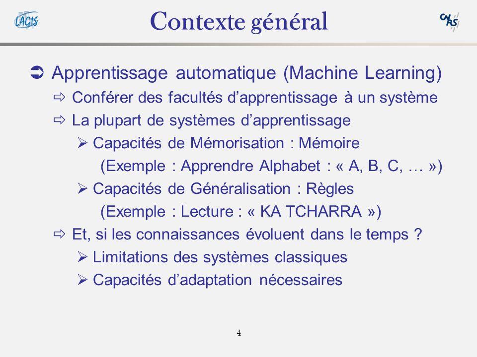 4 Contexte général Apprentissage automatique (Machine Learning) Conférer des facultés dapprentissage à un système La plupart de systèmes dapprentissage Capacités de Mémorisation : Mémoire (Exemple : Apprendre Alphabet : « A, B, C, … ») Capacités de Généralisation : Règles (Exemple : Lecture : « KA TCHARRA ») Et, si les connaissances évoluent dans le temps .