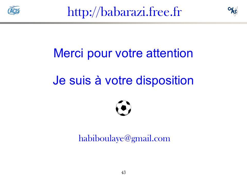 43 Merci pour votre attention Je suis à votre disposition http://babarazi.free.fr habiboulaye@gmail.com