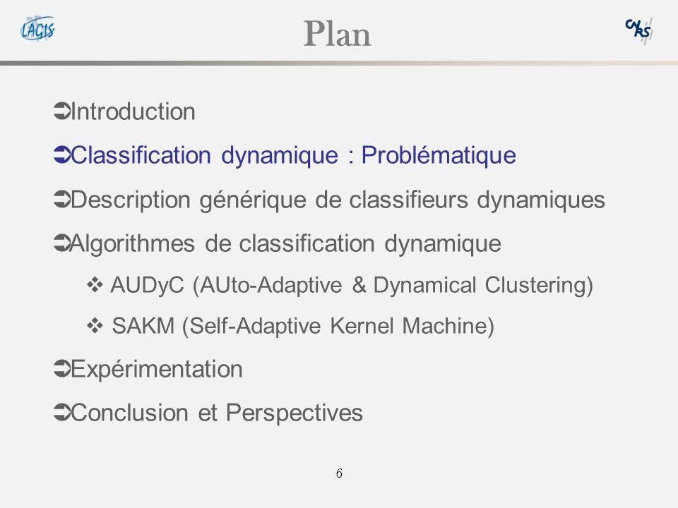 6 Plan Introduction Classification dynamique : Problématique Description générique de classifieurs dynamiques Algorithmes de classification dynamique AUDyC (AUto-Adaptive & Dynamical Clustering) SAKM (Self-Adaptive Kernel Machine) Expérimentation Conclusion et Perspectives