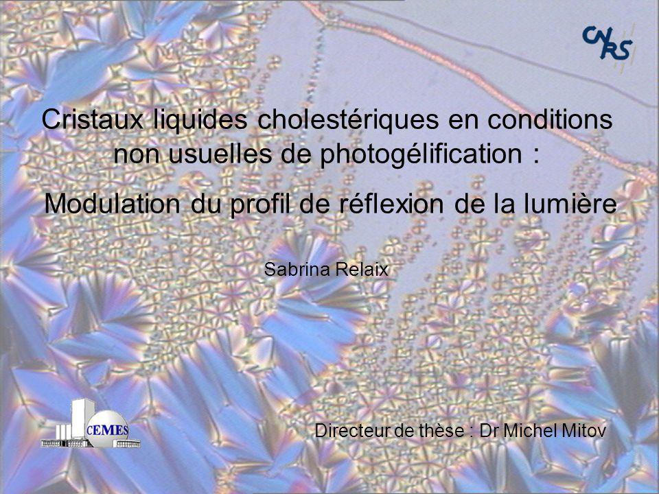 Sabrina Relaix – Soutenance de thèse 24 Sept. 07 1/30 1/31 Cristaux liquides cholestériques en conditions non usuelles de photogélification : Modulati