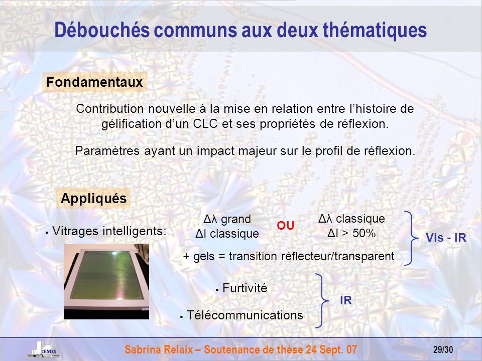Sabrina Relaix – Soutenance de thèse 24 Sept. 07 29/30 Débouchés communs aux deux thématiques Appliqués Vitrages intelligents: Furtivité Télécommunica