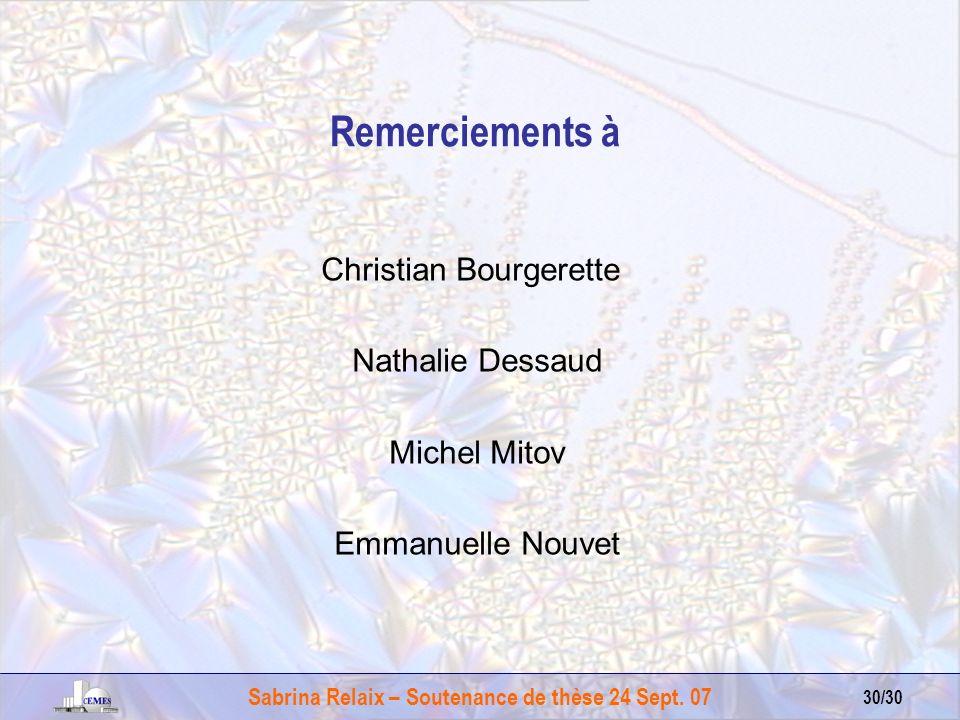 Sabrina Relaix – Soutenance de thèse 24 Sept. 07 30/30 Remerciements à Christian Bourgerette Nathalie Dessaud Michel Mitov Emmanuelle Nouvet