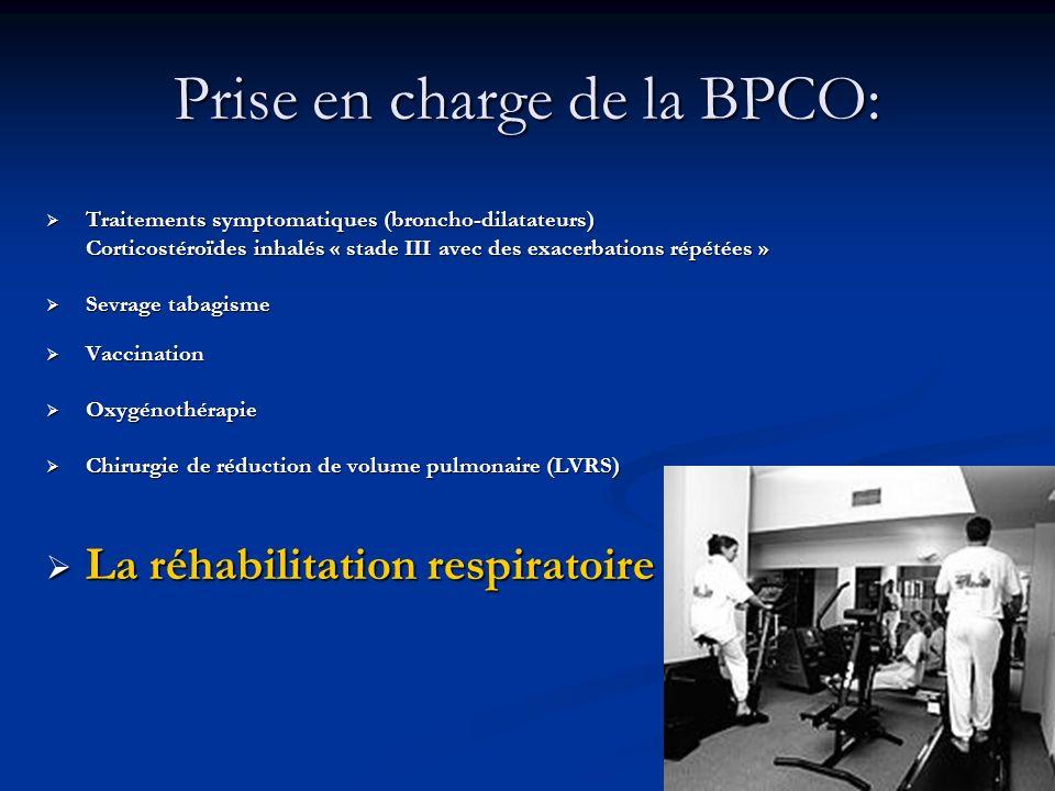 Prise en charge de la BPCO: Traitements symptomatiques (broncho-dilatateurs) Traitements symptomatiques (broncho-dilatateurs) Corticostéroïdes inhalés