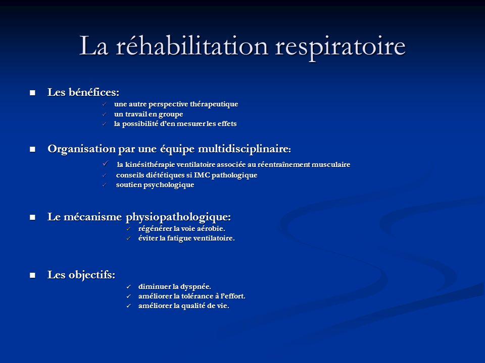 La réhabilitation respiratoire Les bénéfices: Les bénéfices: une autre perspective thérapeutique une autre perspective thérapeutique un travail en gro