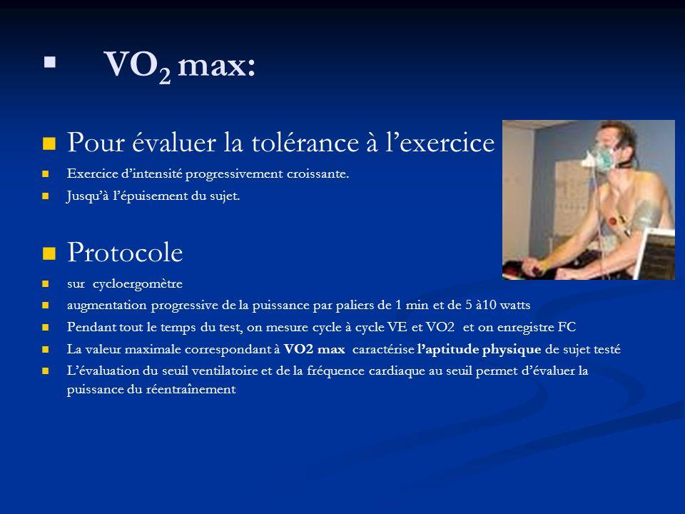 VO 2 max: Pour évaluer la tolérance à lexercice Exercice dintensité progressivement croissante. Jusquà lépuisement du sujet. Protocole sur cycloergomè