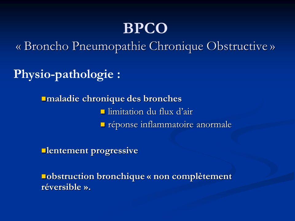 En France : En France : 2.5 millions de patients atteints « SPLF 2003 » 16 000 décès par an 3.4 - 4.2% de la population de plus de 45 ans Au niveau mondial : Au niveau mondial : En 2020, nombre de décès va doubler par rapport à 1990 3ème cause de mortalité « Broncho Pneumopathie Chronique Obstructive » BPCO « Broncho Pneumopathie Chronique Obstructive » Epidémiologie :
