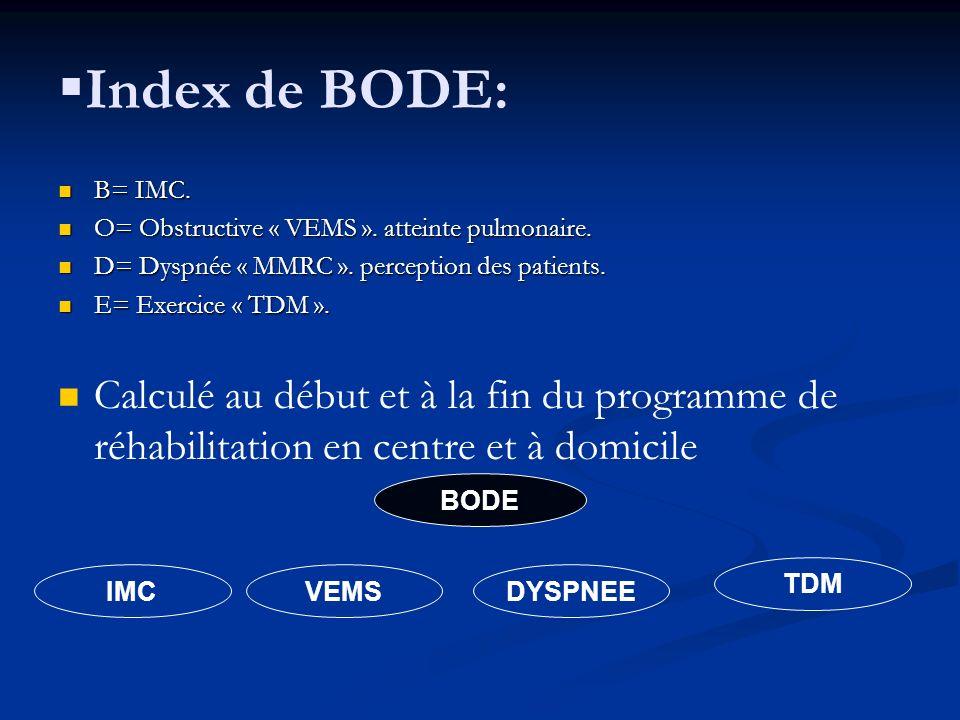 Index de BODE: B= IMC. B= IMC. O= Obstructive « VEMS ». atteinte pulmonaire. O= Obstructive « VEMS ». atteinte pulmonaire. D= Dyspnée « MMRC ». percep