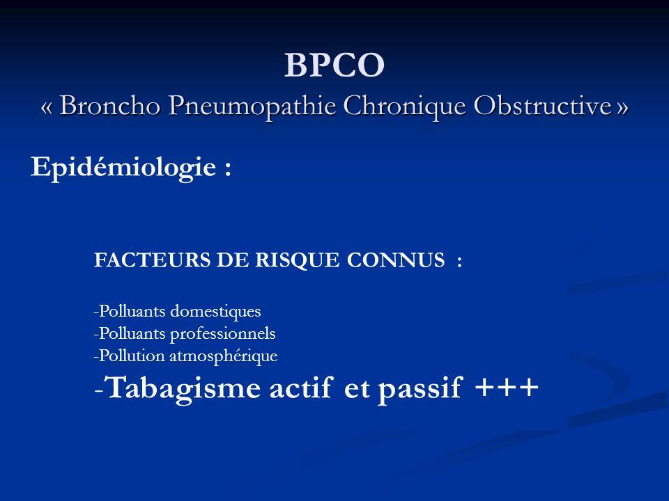 « Broncho Pneumopathie Chronique Obstructive » BPCO « Broncho Pneumopathie Chronique Obstructive » Epidémiologie : FACTEURS DE RISQUE CONNUS : -Pollua
