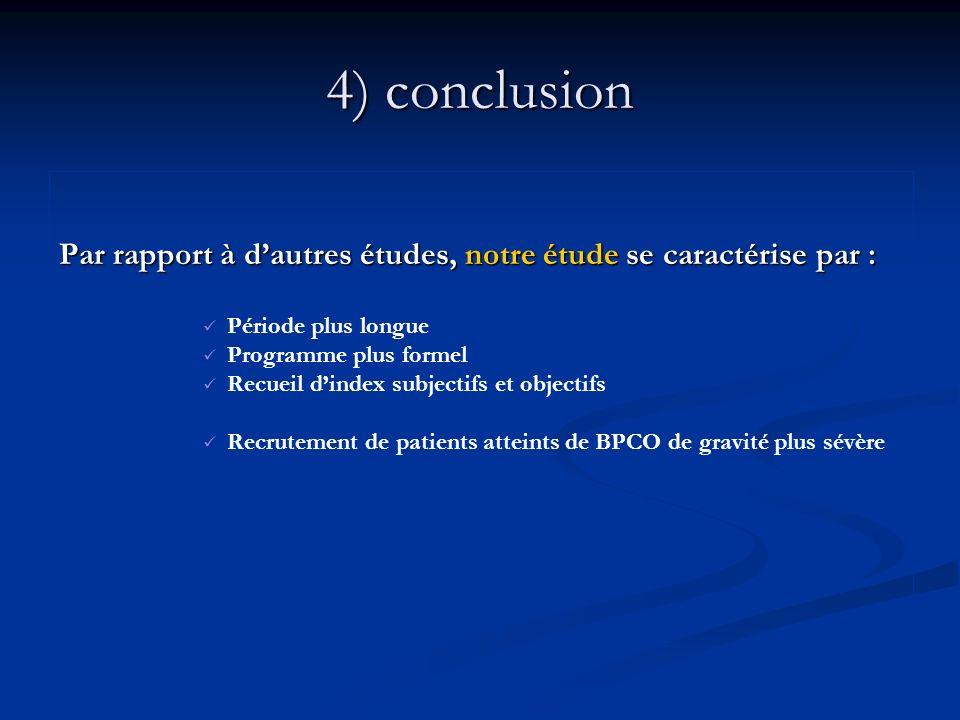 4) conclusion Par rapport à dautres études, notre étude se caractérise par : Période plus longue Programme plus formel Recueil dindex subjectifs et ob