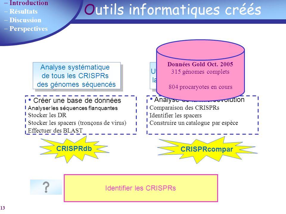 Introduction Résultats Discussion Perspectives 13 Outils informatiques créés Analyse systématique de tous les CRISPRs des génomes séquencés Analyse sy
