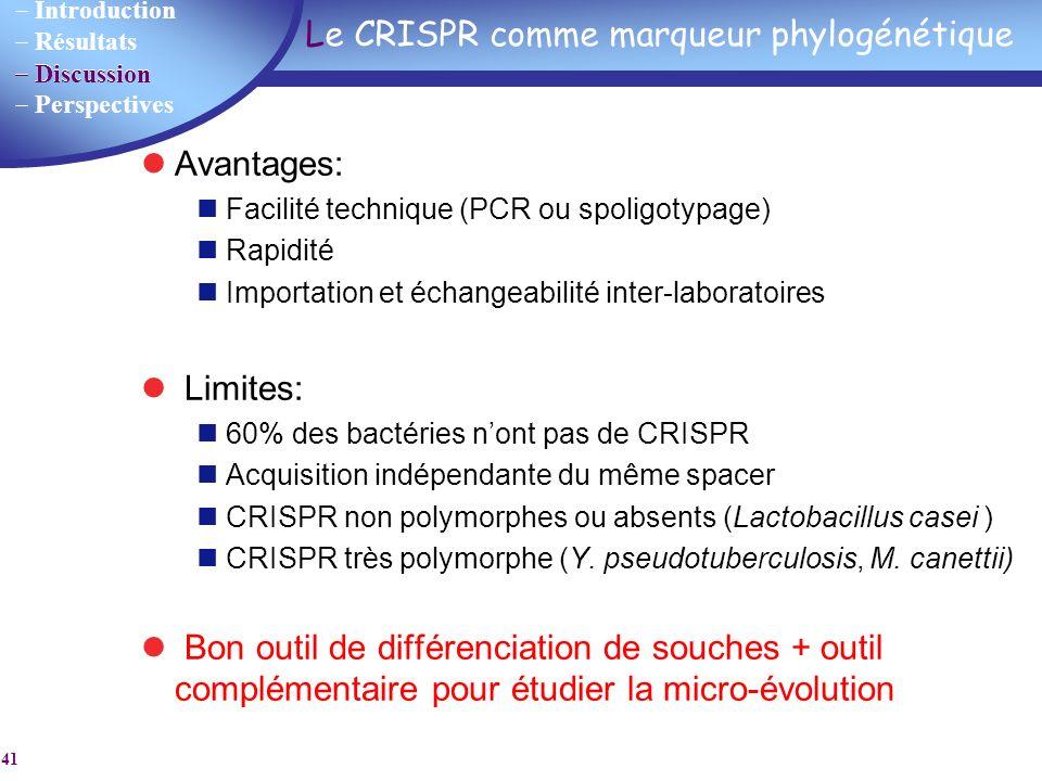 Introduction Résultats Discussion Perspectives 41 Le CRISPR comme marqueur phylogénétique Avantages: Facilité technique (PCR ou spoligotypage) Rapidit