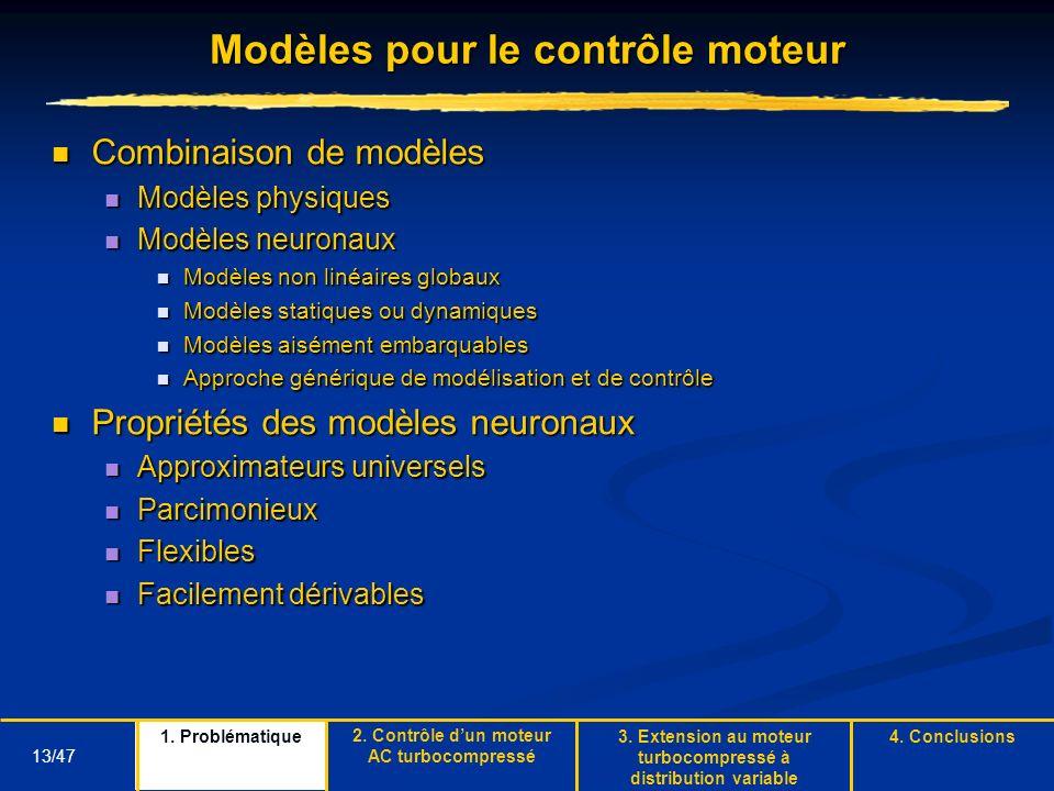 13/47 Modèles pour le contrôle moteur Combinaison de modèles Combinaison de modèles Modèles physiques Modèles physiques Modèles neuronaux Modèles neur
