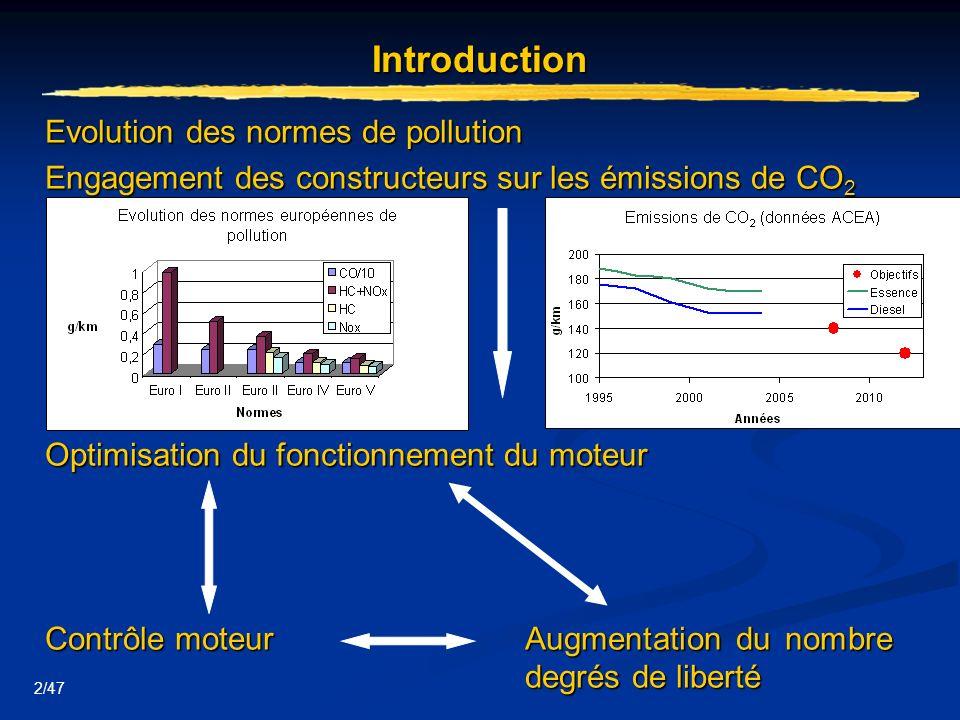2/47 Introduction Evolution des normes de pollution Engagement des constructeurs sur les émissions de CO 2 Optimisation du fonctionnement du moteur Co