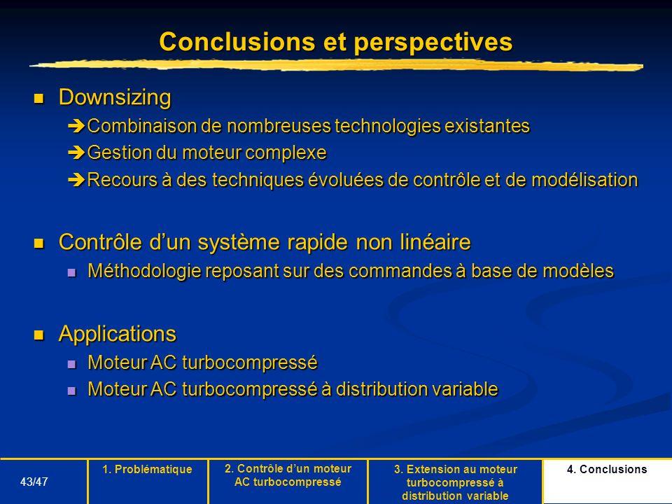 43/47 Conclusions et perspectives Downsizing Downsizing Combinaison de nombreuses technologies existantes Combinaison de nombreuses technologies exist