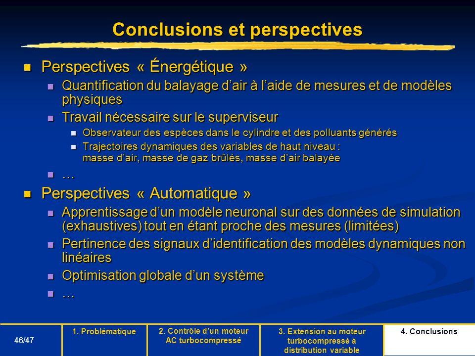 46/47 Conclusions et perspectives Perspectives « Énergétique » Perspectives « Énergétique » Quantification du balayage dair à laide de mesures et de m