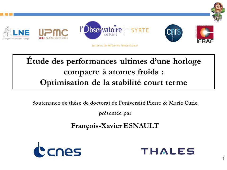 1 Étude des performances ultimes dune horloge compacte à atomes froids : Optimisation de la stabilité court terme Soutenance de thèse de doctorat de l
