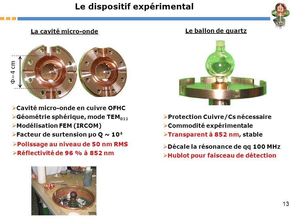 13 Le dispositif expérimental La cavité micro-onde Cavité micro-onde en cuivre OFHC Géométrie sphérique, mode TEM 011 Modélisation FEM (IRCOM) Facteur