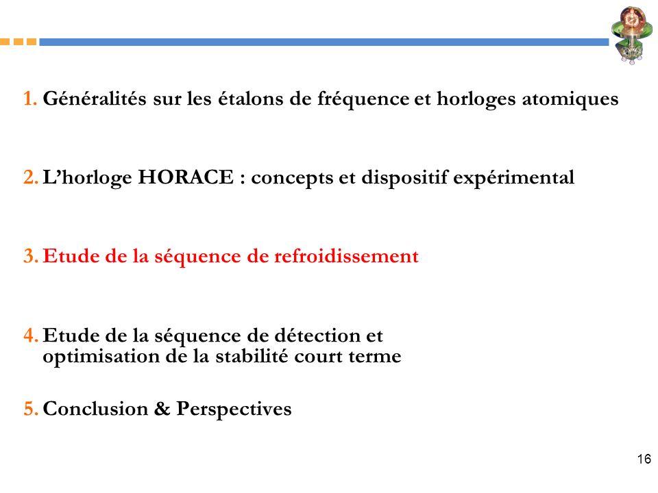 16 1.Généralités sur les étalons de fréquence et horloges atomiques 2.Lhorloge HORACE : concepts et dispositif expérimental 3.Etude de la séquence de