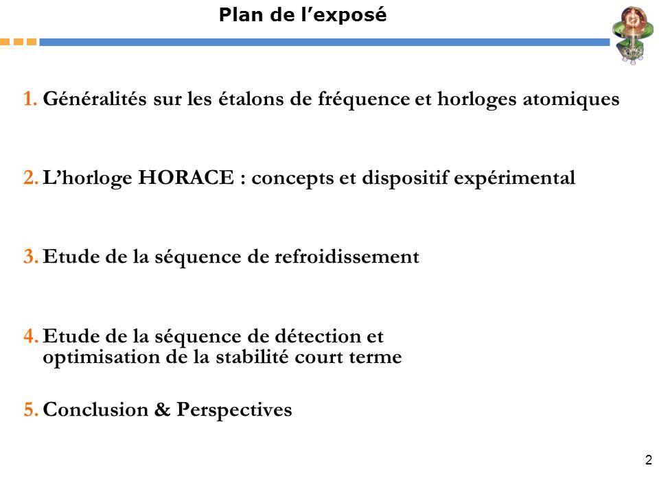 2 Plan de lexposé 1.Généralités sur les étalons de fréquence et horloges atomiques 2.Lhorloge HORACE : concepts et dispositif expérimental 3.Etude de