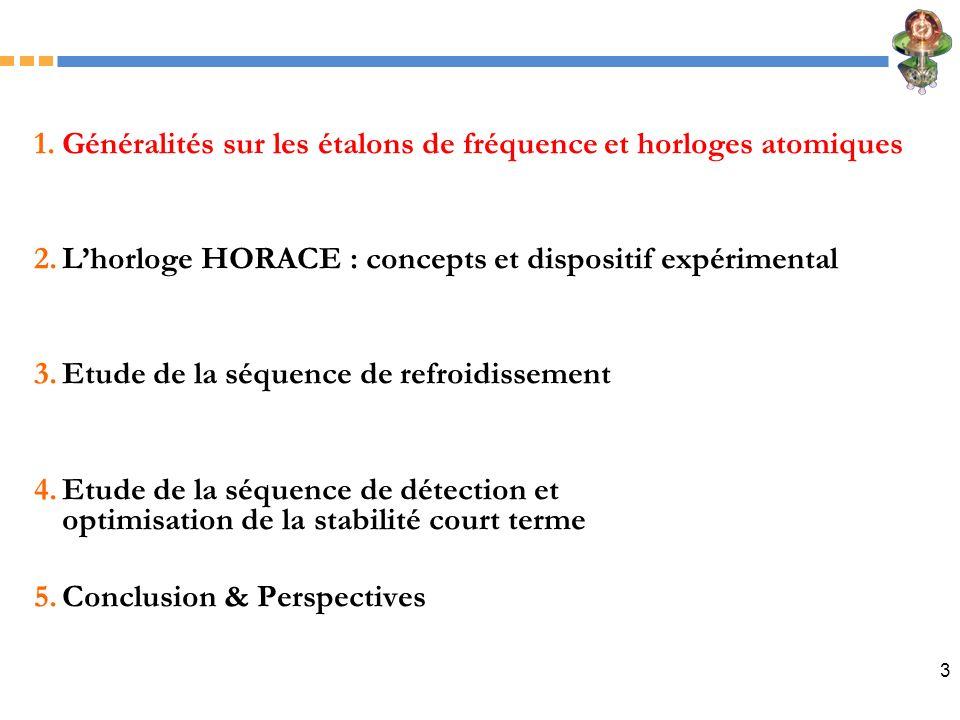 3 1.Généralités sur les étalons de fréquence et horloges atomiques 2.Lhorloge HORACE : concepts et dispositif expérimental 3.Etude de la séquence de r