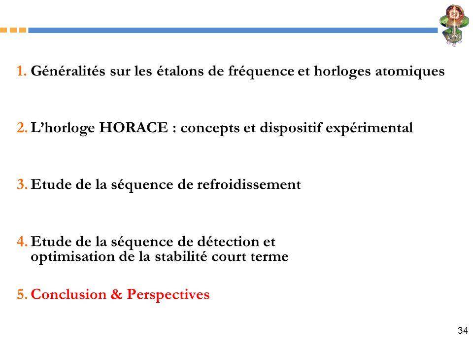 34 1.Généralités sur les étalons de fréquence et horloges atomiques 2.Lhorloge HORACE : concepts et dispositif expérimental 3.Etude de la séquence de