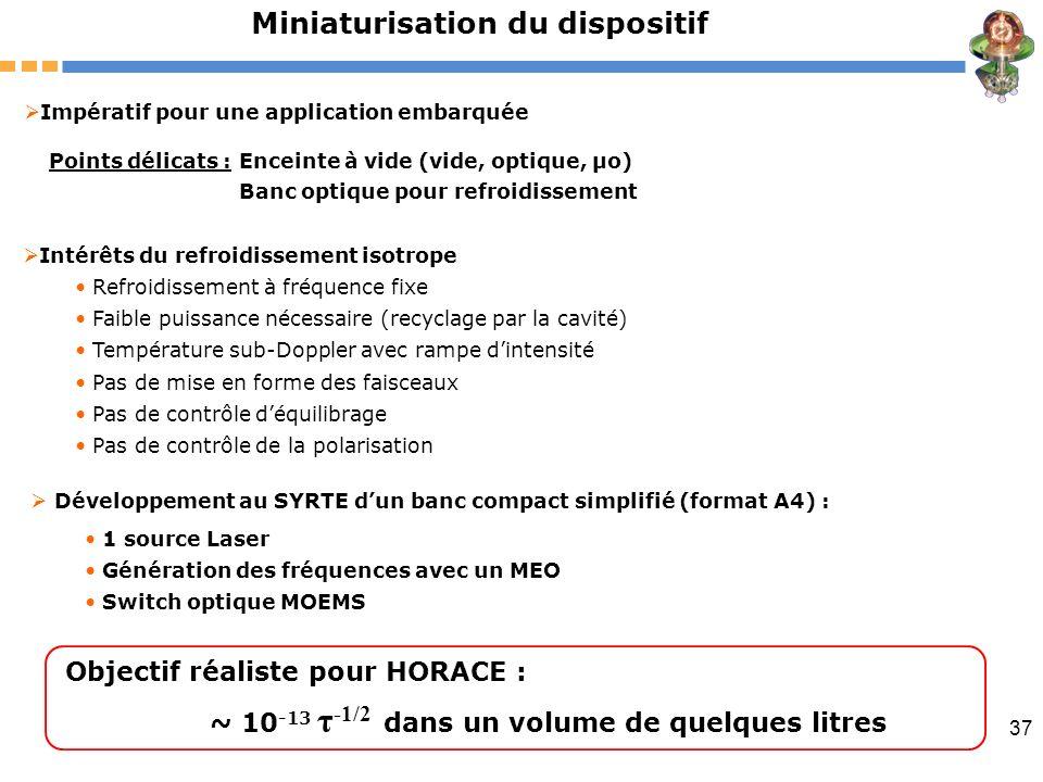 37 Miniaturisation du dispositif Développement au SYRTE dun banc compact simplifié (format A4) : Intérêts du refroidissement isotrope Refroidissement