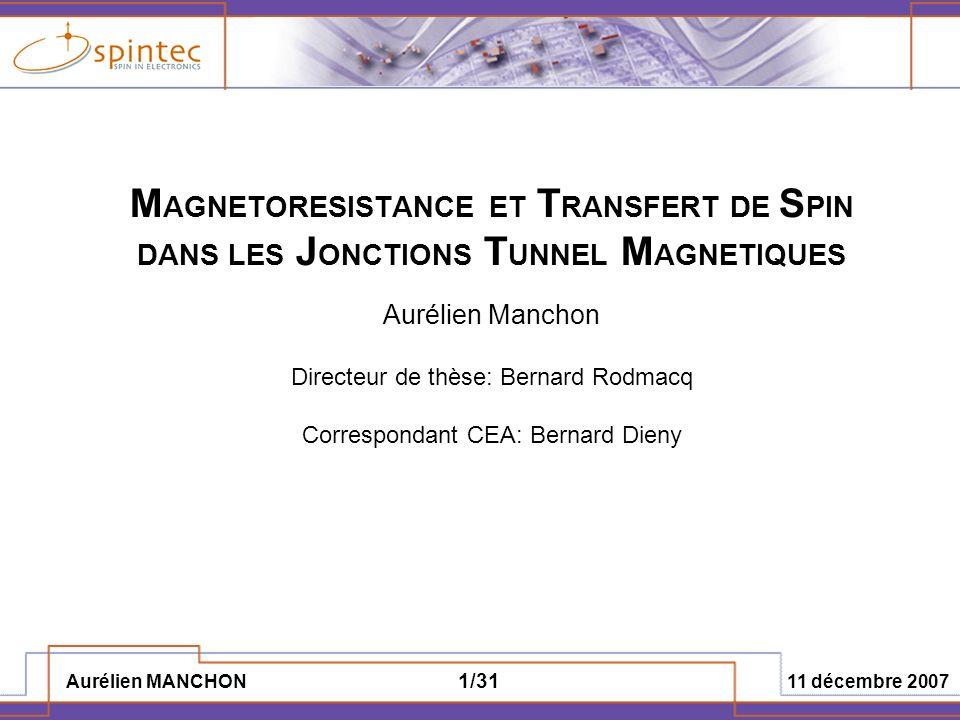 Aurélien MANCHON 11 décembre 2007 22/31 a j =a 1 V+a 2 V 2 b j =b 0 +b 2 V 2 D.2 Description macroscopique – dépendance en tension III.