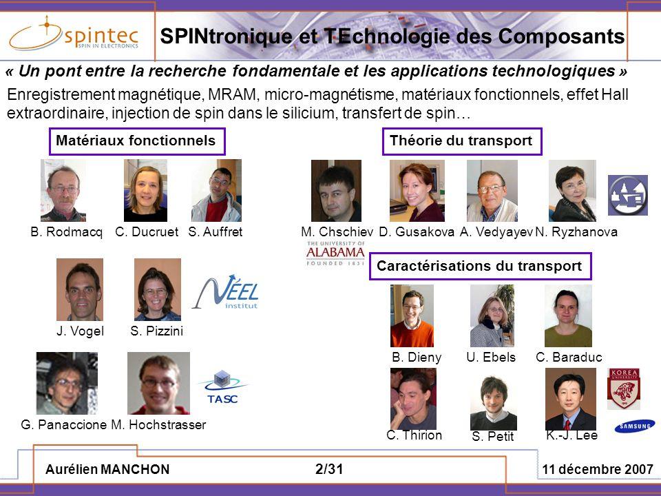 Aurélien MANCHON 11 décembre 2007 2/31 SPINtronique et TEchnologie des Composants « Un pont entre la recherche fondamentale et les applications techno