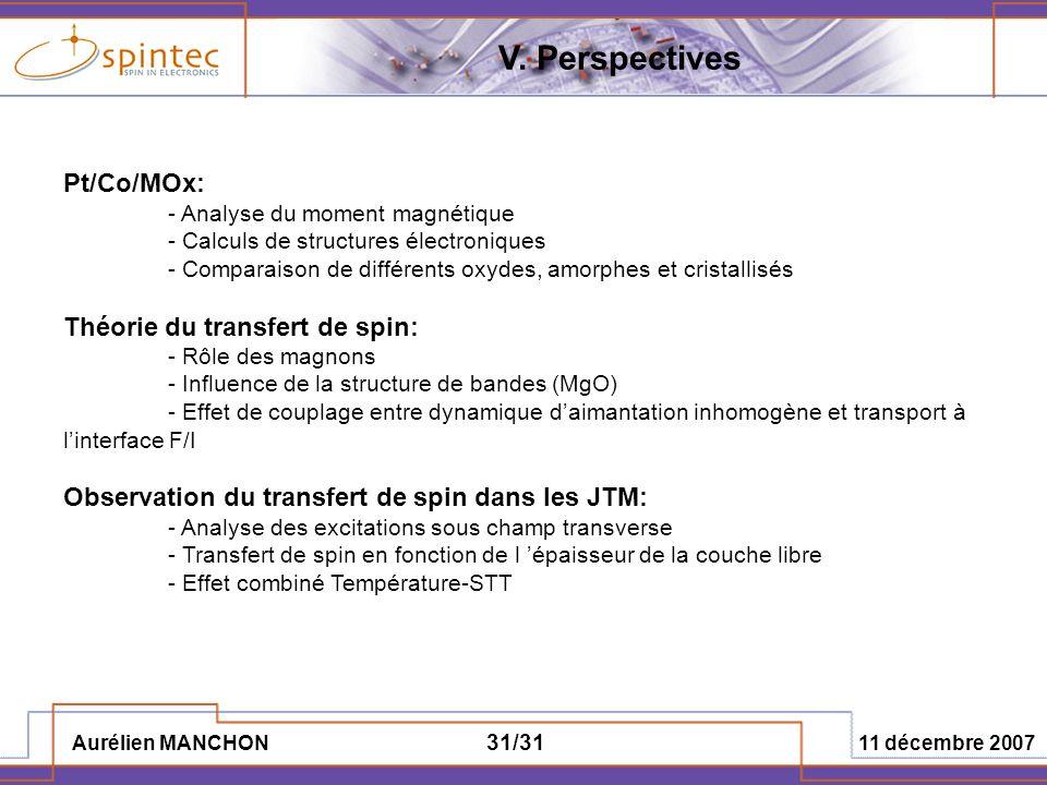 Aurélien MANCHON 11 décembre 2007 31/31 Pt/Co/MOx: - Analyse du moment magnétique - Calculs de structures électroniques - Comparaison de différents ox